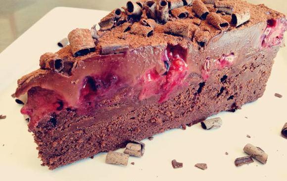 Truffled Flourless Chocolate Cake with Berries